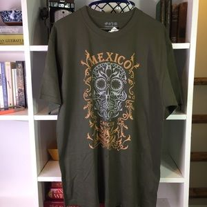 Cancun Mexico Olive Green Skull Tee Shirt Large